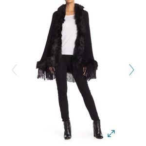 Just Jamie black fur poncho from Nordstrom
